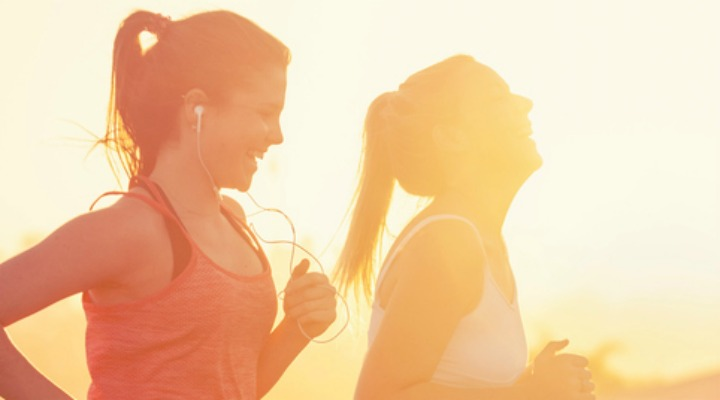 Two healthy teenage girls go for a run